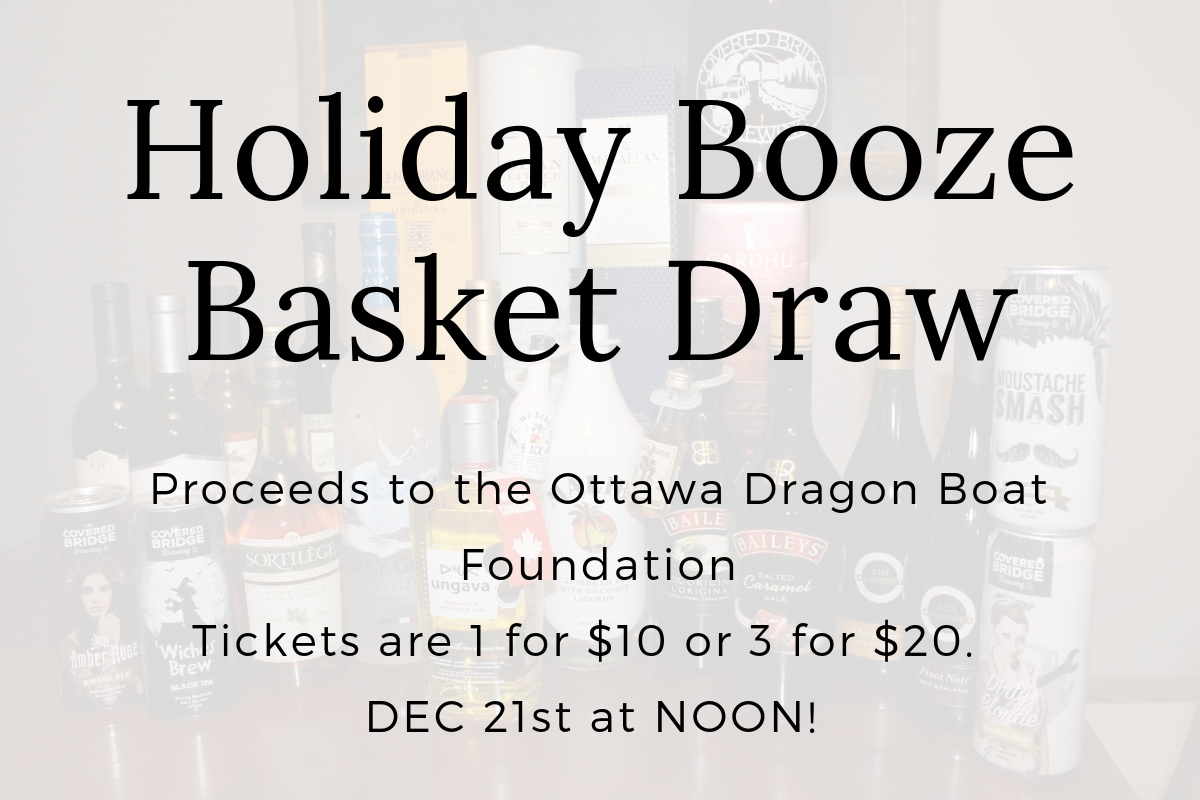 HOLIDAY BOOZE BASKET DRAW – PROCEEDS TO THE ODBF